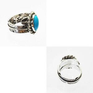 スリーピングビューティターコイズシルバーリングトルコ石イーグルフェザー指輪ネイティヴスピリットオンリーワンいぶし銀手作り19号