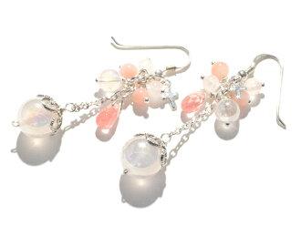 紅疹玫瑰石英、 粉紅色貓眼石、 櫻桃石英和天使耳環耳環製作非石耳環 05P24Dec15