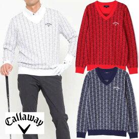 キャロウェイアパレル 2020年秋冬モデル メンズ (241-0218504) Vネックニットセーター callaway【20】