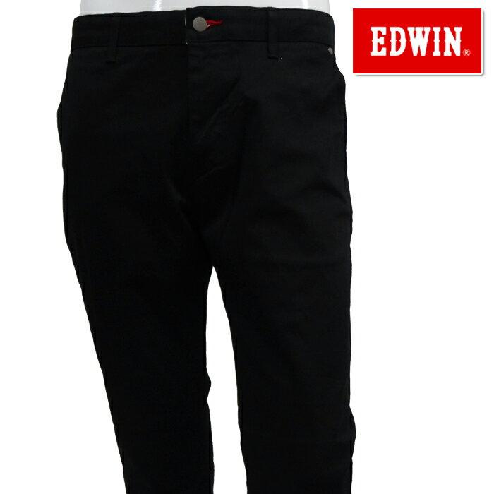 【40%OFF】EDWIN-エドウィン- MENS (メンズ) ノータック レギュラー テーパード チノブラック ロングパンツ【K80533-01】【NEW春夏モデル】【18】【ボトムス】【ウエア】S,M,L,XLサイズ【ゴルフ用品】