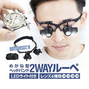 LEDライト付き メガネ型ルーペ ヘッドルーペ 左右独立角度調整 レンズ4種類付属 10倍/15倍/20倍/25倍 宝石鑑定 時計修理 電子機器修理 アクセサリー修理などに JL-CD9892GJ