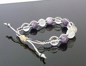 スギライト・水晶のブレスレット(マクラメ編み・平編みブレスレット)[A4639]【編みブレスレット・ブレス】水晶・スギライト|レディース|こだわりブレスレット|パワーストーン・天然石スギライト|