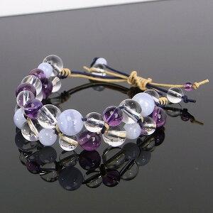 アメジスト・ブルーレース・水晶のブレスレット(マクラメ編み・平編みブレスレット)[A4644]【編みブレスレット・ブレス】水晶・ブルーレース・アメジスト|レディース|こだわりブレスレット|パワーストーン・天然石アメジスト|