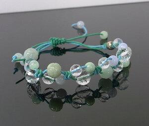 翡翠・ブルーレース・水晶のブレスレット(マクラメ編み・平編みブレスレット)[A4650]【編みブレスレット・ブレス】水晶・ブルーレース・翡翠|レディース|こだわりブレスレット|パワーストーン・天然石翡翠[ひすい]|