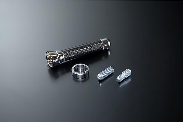 JDM リアルカーボンショートアンテナ 60mm ブラック/クローム TOYOTA パッソセッテ 08.12〜12.3 M5#2E [JCB-60CBC]