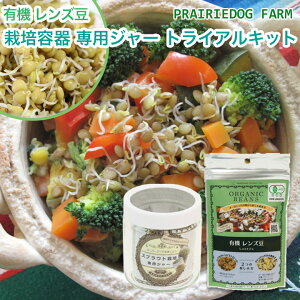 有機 レンズ豆 スプラウトと 栽培容器 専用ジャーのセット もやし型 豆 キッチンファーム 水耕栽培 有機種子 発芽豆 おうちでベジ 家庭菜園|ギフト キット セット 栽培 スプラウト 栽培キッ