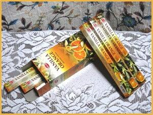 インドのお香♪HEM社製バニラオレンジ香1箱 6筒入り【インド香】【インセンス】【スティックタイプ】【Hexaパック6本入り】