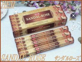 インドのお香♪HEM社製サンダルローズ香SANDAL-ROSE1箱 6筒入り【インド香】【インセンス】【スティックタイプ】【Hexaパック6本入り】