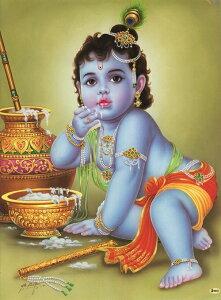 インドの神様 クリシュナ神(幼少期)のお守りカード(小)×1枚[001]India God【krishna(Childhood)】Small Card(charm) 【神聖】【知】【愛】【美】【魅力】【魅了】【お守り】