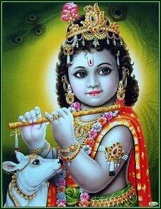 インドの神様 クリシュナ神(幼少期)のお守りカード(小)×1枚[004]India God【krishna(Childhood)】Small Card(charm) 【神聖】【知】【愛】【美】【魅力】【魅了】【お守り】