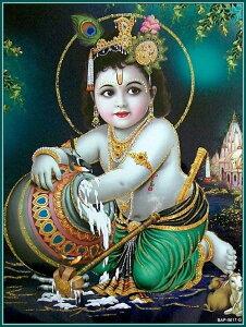 インドの神様 クリシュナ神(幼少期)のお守りカード(小)×1枚[006]India God【krishna(Childhood)】Small Card(charm) 【神聖】【知】【愛】【美】【魅力】【魅了】【お守り】