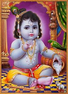 インドの神様 クリシュナ神(幼少期)のお守りカード(小)×1枚[007]India God【krishna(Childhood)】Small Card(charm) 【神聖】【知】【愛】【美】【魅力】【魅了】【お守り】