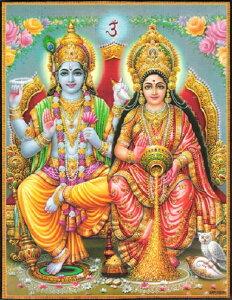 インドの神様 クリシュナ&ラーダのお守りカード(小)×1枚[004]India God【krishna&radha】Small Card(charm) 【神聖】【知】【愛】【美】【魅力】【魅了】【お守り】