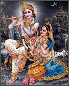 インドの神様 クリシュナ&ラーダのお守りカード(小)×1枚[011]India God【krishna&radha】Small Card(charm) 【神聖】【知】【愛】【美】【魅力】【魅了】【お守り】