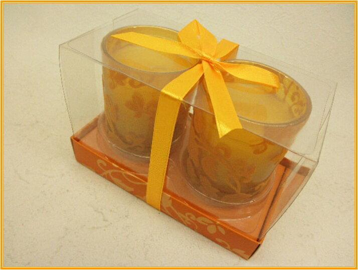 ブージー・ヴェール -bougie verre-フェルトコレクショングラスキャンドルMサイズ2Pセット(1個490円!)ローズの香り☆オレンジおしゃれなフェルト地をあしらったグラスアロマキャンドル♪大切なイベント時にお使い下さい!
