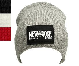 NEW YORK HAT(ニューヨークハット)ニットキャップ #4687 NEW YORK HAT LOGO CAP ニューヨーク ハット ロゴ キャップ グレー ブラック ホワイト レッド