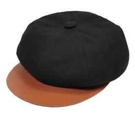 New York Hat ニューヨークハット #6205 Canvas/Leather Spitfire コットン レザー キャスケット BLACK 紳士 婦人 メンズ レディース 男女兼用