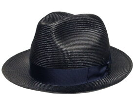 Borsalino ボルサリーノ インポート パラシゾール 中折れハット 紺 イタリア製 麦わら帽 ストロー