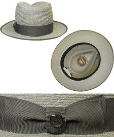 帽子ステットソンSTETSONSE432VshapeVシェイプグレークロベージュ高級ストローハット日本製麻メンズレディース