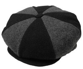 New York Hat ニューヨークハット #9061 Wool Two Way Newsboy キャスケット BLACK/CHARCOAL 紳士 婦人 メンズ レディース 男女兼用