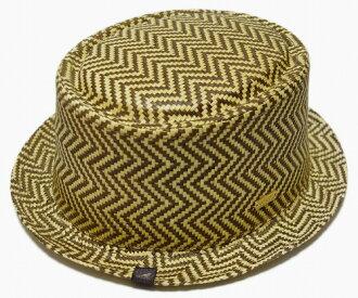 KANGOL(罐子球門)帽子吸管猪肉派帽子JACQ PORKPIE,Herringbone Straw
