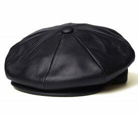 New York Hat(ニューヨークハット) レザーキャスケット #9242 Lambskin Newsboy, Black