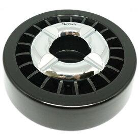 Praxia 煙の出にくい 丸型 灰皿 シルバー / ブラック / ガンメタリック 吸殻 タバコ 【クリーニングクロス/刷毛 付属】 送料無料