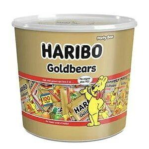 HARIBO ハリボー グミ ミニゴールドベア 『ハリボー』グミキャンディドラム 980g 100袋 Gold Baear コストコ 通販 大量 濃縮還元果汁 フルーツ 送料無料