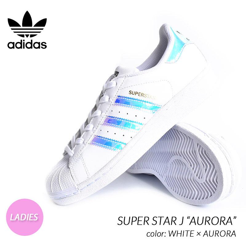 """海外限定 アディダス スーパースター スニーカー adidas SUPER STAR J """"AURORA"""" WHITE ( 日本未発売 白 ホワイト レディース ウィメンズ AQ6278 )"""
