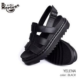 限定 ドクターマーチン イェレナ レザー サンダル Dr.Martens YELENA BLACK ( 黒 ブラック メンズ レディース 厚底 23800001 )