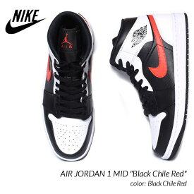 "NIKE AIR JORDAN 1 MID ""Black Chile Red"" ナイキ エア ジョーダン 1 ミッド スニーカー ( 白 黒 赤 ホワイト ブラック メンズ 554724-075 )"