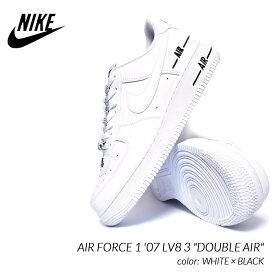 """NIKE AIR FORCE 1 '07 LV8 3 """"DOUBLE AIR"""" WHITE × BLACK ナイキ エアフォース 1 ダブルエアー スニーカー ( 白 CJ1379-100 )"""