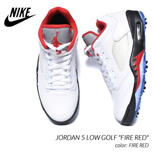 "NIKE JORDAN 5 LOW GOLF ""FIRE RED"" ナイキ ジョーダン ロー ゴルフ スニーカー ( ファイヤレッド 白 赤 ゴルフシューズ メンズ CU4523 100 )"