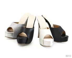 オープントゥ 厚底 グリッター ピンヒール パンプス 8013 シンプル 靴