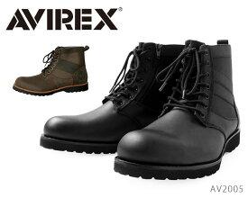 AVIREX アビレックス メンズ ブーツ VANGUARD ヴァンガード 本革 防水 レザー レインブーツ レインシューズ サイドジッパー ミリタリーブーツ 革靴 AV2005 2005