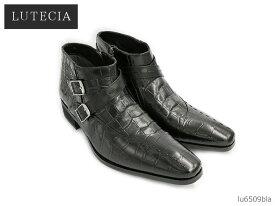 マドラス 靴 メンズ ルテシア LUTECIA madras LU6509 6509 ブラック クロコ型押し メンズ チャッカーブーツ 靴 正規品