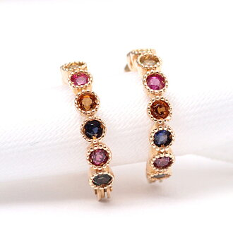 Earrings yellow gold YG k10 wrapping free rainbow color Sapphire ladies birth stone colorful charm mill strike [jte-00010] mothers day carnations