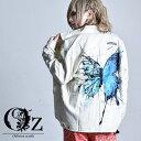 【Oz select】Back butterfly jacket デニムジャケット オーバーサイズ 個性的 v系 大きいサイズ V系 ジャケット Gジャン メンズ 原宿系 派手 な 服 ホスト 衣装 ヴィジュアル系 ファッション アウター ストリートファッション oz オズ レディース