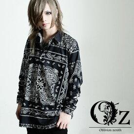 【Oz select】Bandana pattern shirt バンダナ柄 シャツ ペイズリー柄 ビッグシャツ ストリート ファッション シャツ V系 長袖 個性的 派手な 服 ヴィジュアル系 ファッション オーバーサイズ シャツ 韓国ファッション ホスト レディース OZ オズ