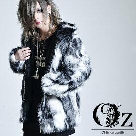 【Oz select】Fake fur jacket ファー ジャケット メンズ アウター 個性的 派手な 服 フェイクファー ジャケット モード系 メンズ アウター ストリート系 冬 アウター ボアジャン v系 アウター ストリート パーカー ヴィジュアル系 ファッション ボア