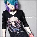 【minority】Virgen Tee†V系 ファッション Tシャツ プリント 七分袖 7分袖 アシメ アシンメトリー メンズ ヴィジュア…