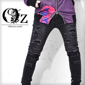 【Oz select】Biker Design Black Denim Skinny†V系 ファッション メンズ ヴィジュアル系 スキニーパンツ スキニー パンツ バイカーパンツ クラッシュ ダメージ 蛇腹 ビジュアル系 ロック ROCK パンク ロックファッション 個性的 個性派 レディース Oz オズ