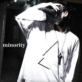 【minority】Triangle Big TEE†ビッグT ビッグTシャツ ビッグTEE BIG-T プリント 三角 幾何学 綿 ロング丈 メンズ モード系 Tシャツ 長袖 オーバーサイズ ストリート系 ファッション ブラック ロック ROCK ロックファッション 個性的 個性派 Oz オズ