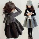 ワンピース 子供服 子供ドレス 黒 ブラック グレー お姫様ドレス 子ども 女の子 キッズワンピース dress 120/130/140/150cm ET155Y 入…