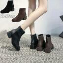 レディース ブーツ ショート 女性 シューズ ショートブーツ 靴 秋冬 大人 ローヒール スクエアブーツ 履きやすい 歩きやすい 大きいサイズ おしゃれ 通勤 ブラック ブラウン22.5cm 23cm