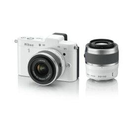【中古】【1年保証】【美品】Nikon V1 ダブルレンズキット ホワイト