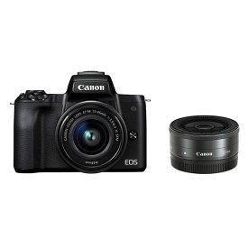 【中古】【1年保証】【美品】Canon EOS Kiss M ダブルレンズキット 15-45mm IS STM + 22mm F2 STM ブラック