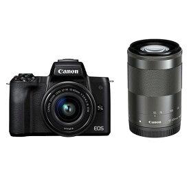 【中古】【1年保証】【美品】Canon EOS Kiss M ダブルズームキット 15-45mm IS STM + 55-200mm IS STM ブラック