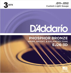 D'AddarioEJ26-3D[PhosphorBronzeCustomLightMulti-Packs]