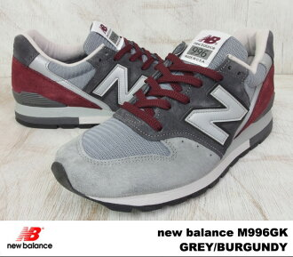 "New balance M996GK-new balance M996 GK GREY/BURGUNDY grey / Burgundy WIDTH:D ""MADE IN USA"""
